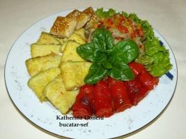 Asorti din legume coapte cu salata din vinata